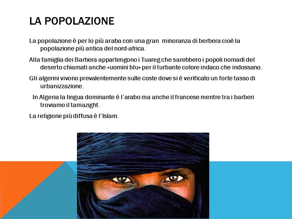 LA POPOLAZIONE La popolazione è per lo più araba con una gran minoranza di berbera cioè la popolazione più antica del nord-africa.