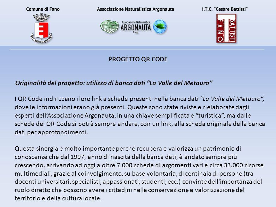 I QR Code indirizzano i loro link a schede presenti nella banca dati La Valle del Metauro , dove le informazioni erano già presenti.