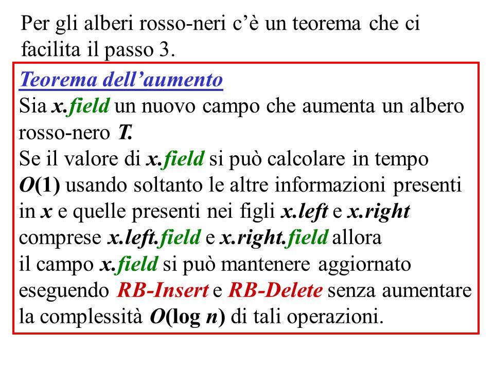 Per gli alberi rosso-neri c'è un teorema che ci facilita il passo 3. Teorema dell'aumento Sia x.field un nuovo campo che aumenta un albero rosso-nero