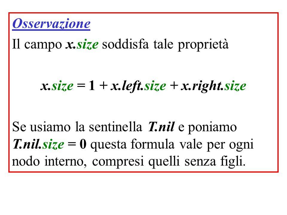 Osservazione Il campo x.size soddisfa tale proprietà x.size = 1 + x.left.size + x.right.size Se usiamo la sentinella T.nil e poniamo T.nil.size = 0 questa formula vale per ogni nodo interno, compresi quelli senza figli.