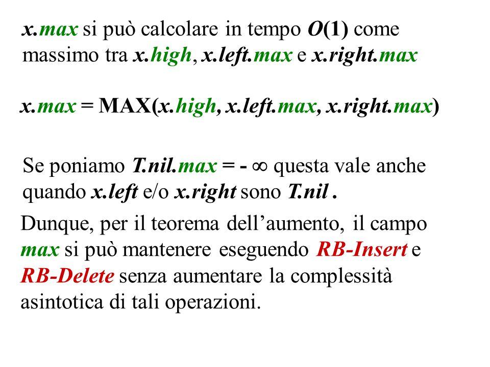 x.max si può calcolare in tempo O(1) come massimo tra x.high, x.left.max e x.right.max Dunque, per il teorema dell'aumento, il campo max si può mantenere eseguendo RB-Insert e RB-Delete senza aumentare la complessità asintotica di tali operazioni.