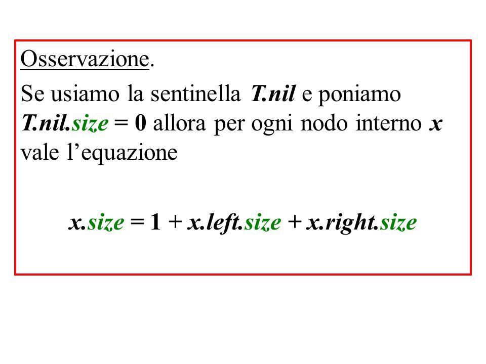 Osservazione. Se usiamo la sentinella T.nil e poniamo T.nil.size = 0 allora per ogni nodo interno x vale l'equazione x.size = 1 + x.left.size + x.righ
