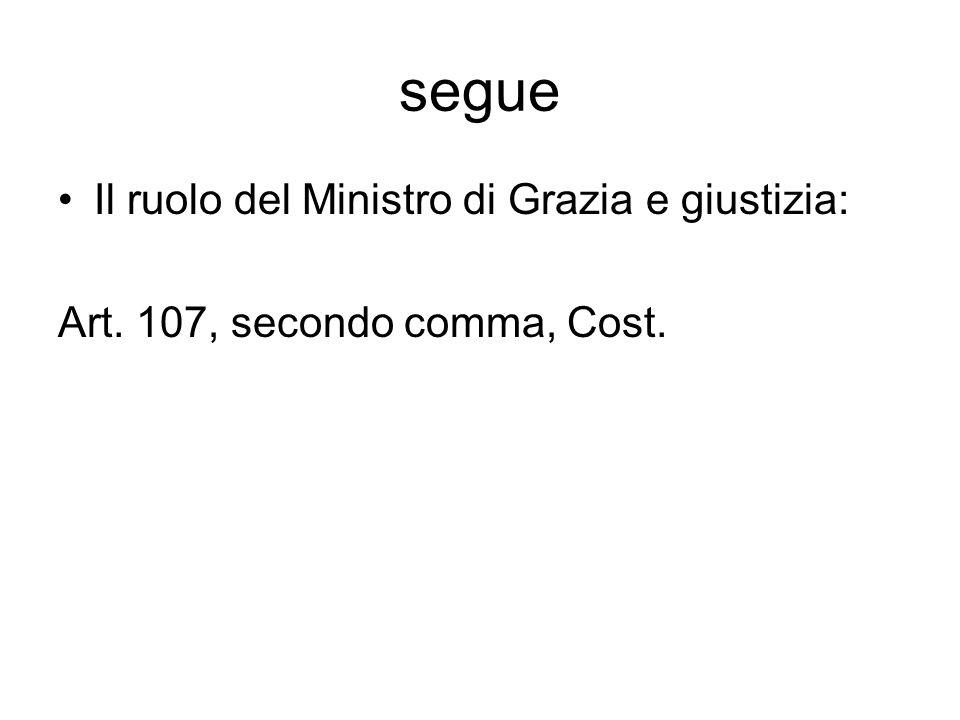 segue Il ruolo del Ministro di Grazia e giustizia: Art. 107, secondo comma, Cost.