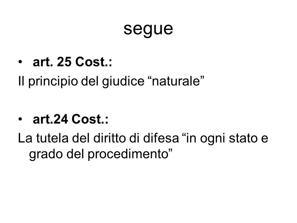 """segue art. 25 Cost.: Il principio del giudice """"naturale"""" art.24 Cost.: La tutela del diritto di difesa """"in ogni stato e grado del procedimento"""""""