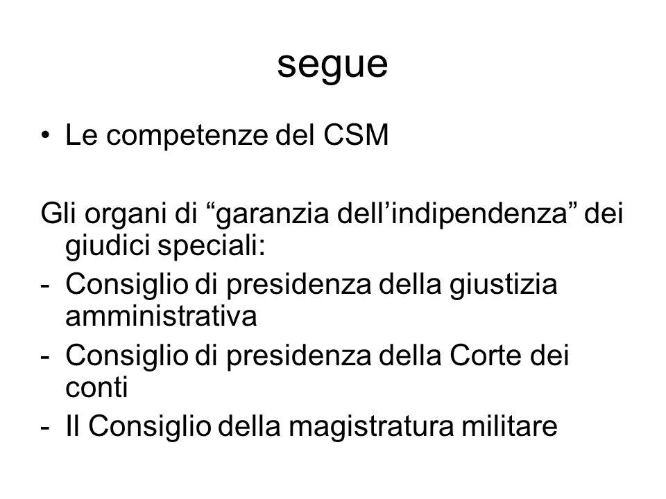 """segue Le competenze del CSM Gli organi di """"garanzia dell'indipendenza"""" dei giudici speciali: -Consiglio di presidenza della giustizia amministrativa -"""
