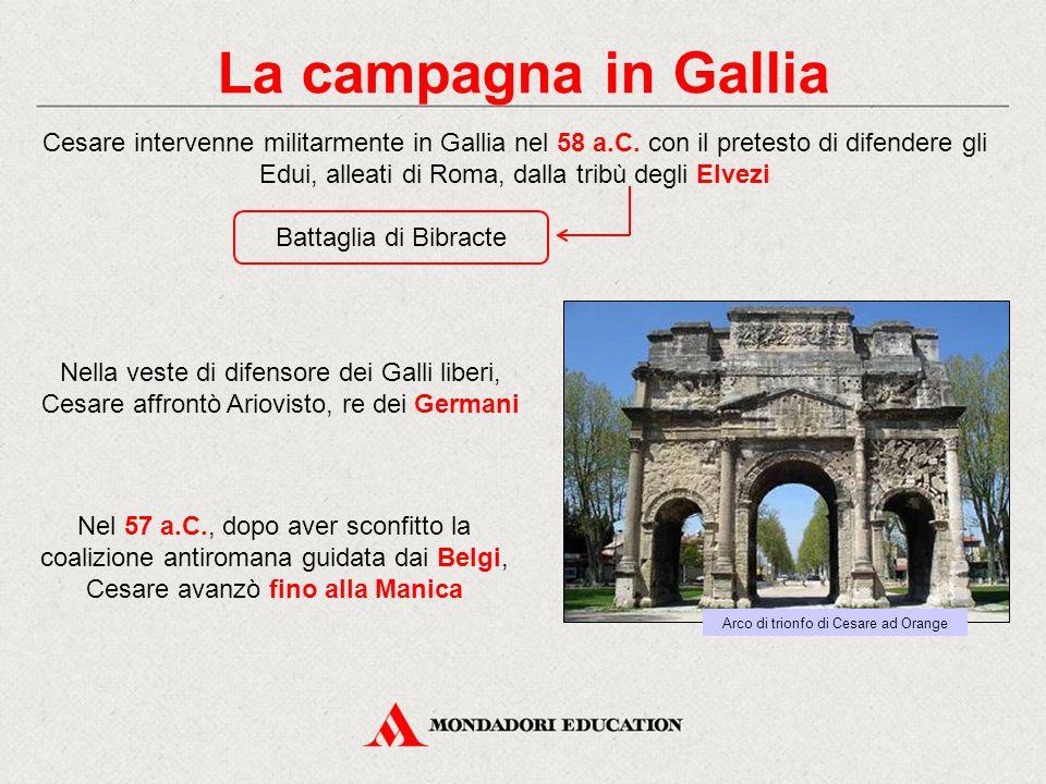 La campagna in Gallia Cesare intervenne militarmente in Gallia nel 58 a.C. con il pretesto di difendere gli Edui, alleati di Roma, dalla tribù degli E