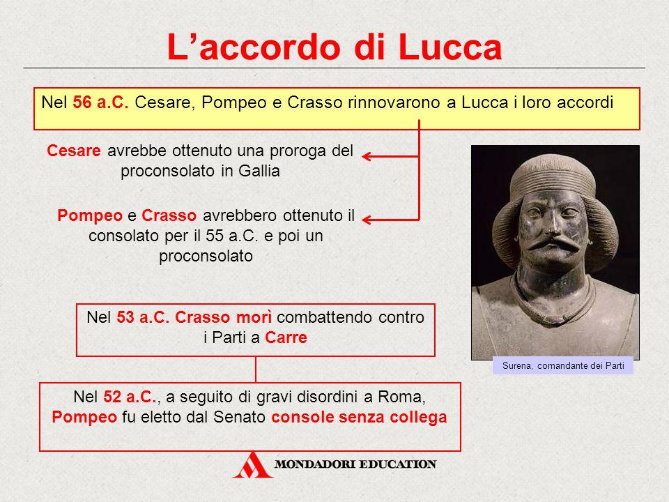 L'accordo di Lucca Nel 56 a.C. Cesare, Pompeo e Crasso rinnovarono a Lucca i loro accordi Cesare avrebbe ottenuto una proroga del proconsolato in Gall