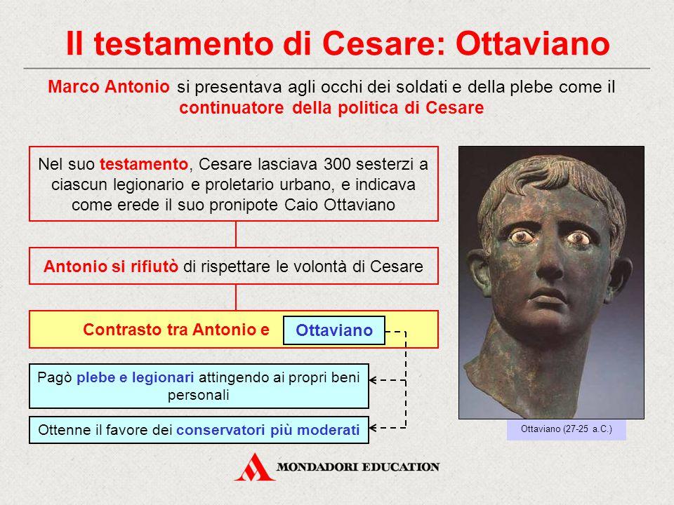 Il testamento di Cesare: Ottaviano Marco Antonio si presentava agli occhi dei soldati e della plebe come il continuatore della politica di Cesare Otta