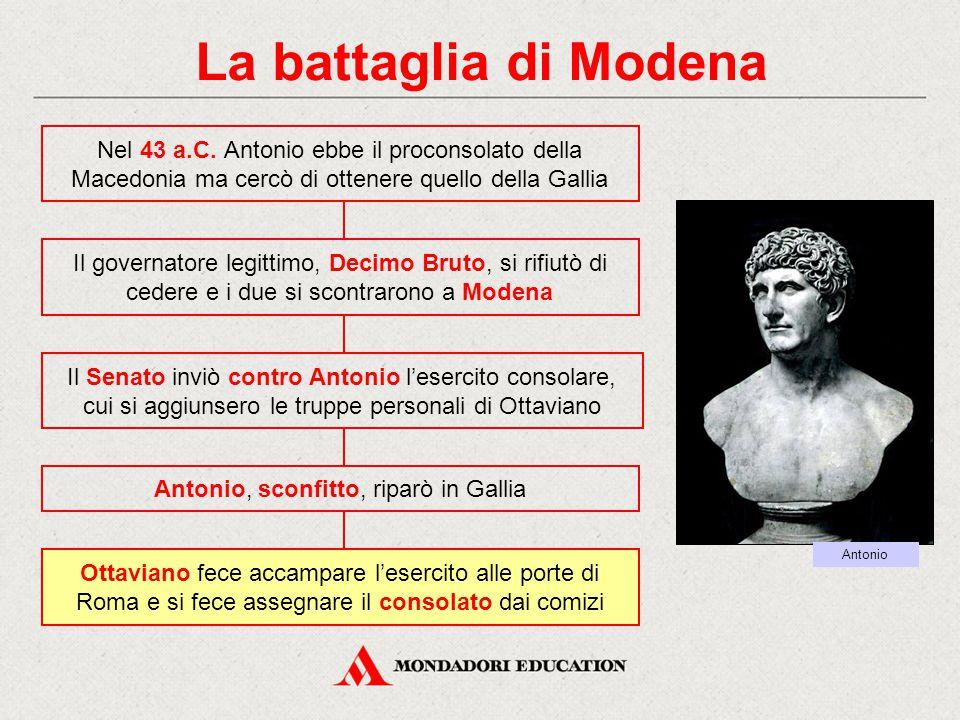 La battaglia di Modena Nel 43 a.C. Antonio ebbe il proconsolato della Macedonia ma cercò di ottenere quello della Gallia Ottaviano fece accampare l'es