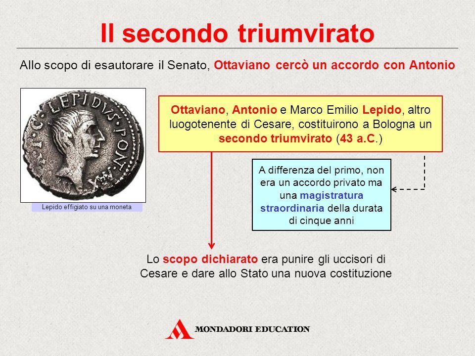 Il secondo triumvirato Allo scopo di esautorare il Senato, Ottaviano cercò un accordo con Antonio Ottaviano, Antonio e Marco Emilio Lepido, altro luog