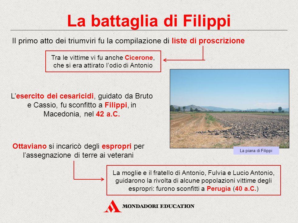 La battaglia di Filippi Il primo atto dei triumviri fu la compilazione di liste di proscrizione La moglie e il fratello di Antonio, Fulvia e Lucio Ant