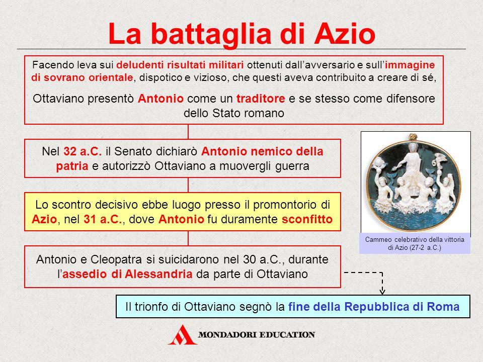 La battaglia di Azio Nel 32 a.C. il Senato dichiarò Antonio nemico della patria e autorizzò Ottaviano a muovergli guerra Facendo leva sui deludenti ri