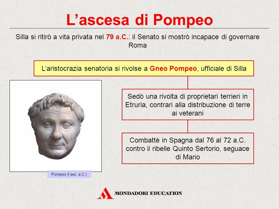 L'ascesa di Pompeo Silla si ritirò a vita privata nel 79 a.C.: il Senato si mostrò incapace di governare Roma L'aristocrazia senatoria si rivolse a Gn