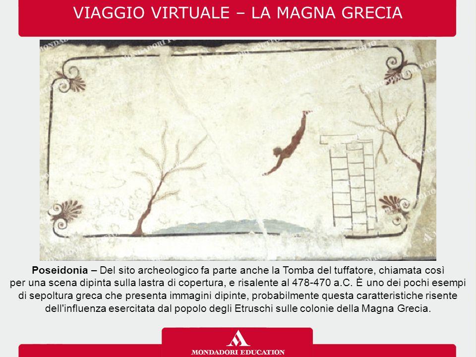 Poseidonia – Del sito archeologico fa parte anche la Tomba del tuffatore, chiamata così per una scena dipinta sulla lastra di copertura, e risalente a