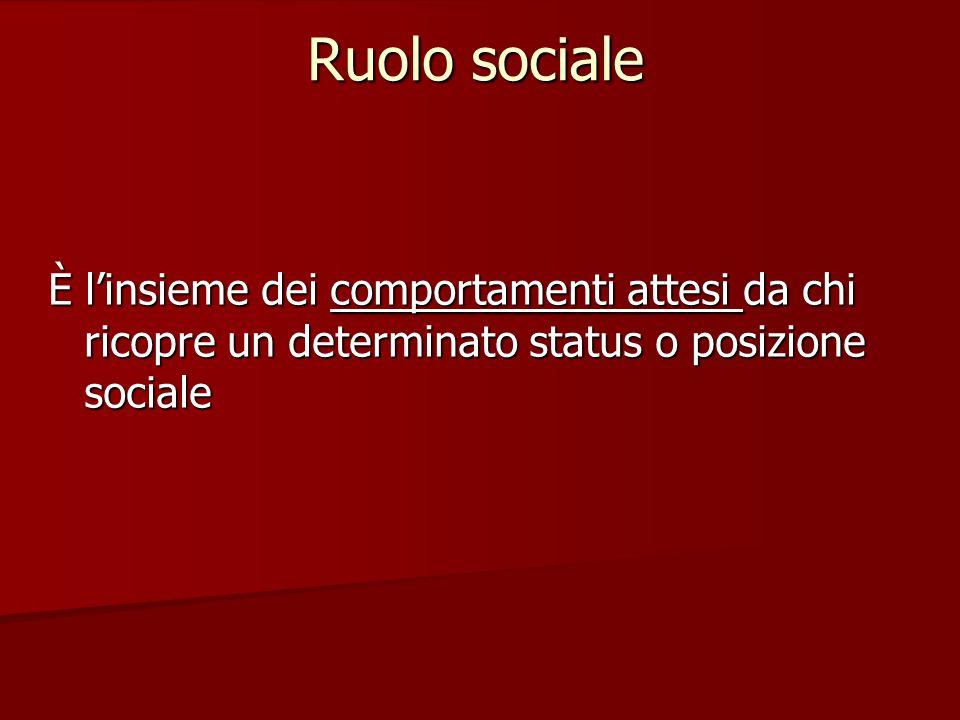 È l'insieme dei comportamenti attesi da chi ricopre un determinato status o posizione sociale Ruolo sociale