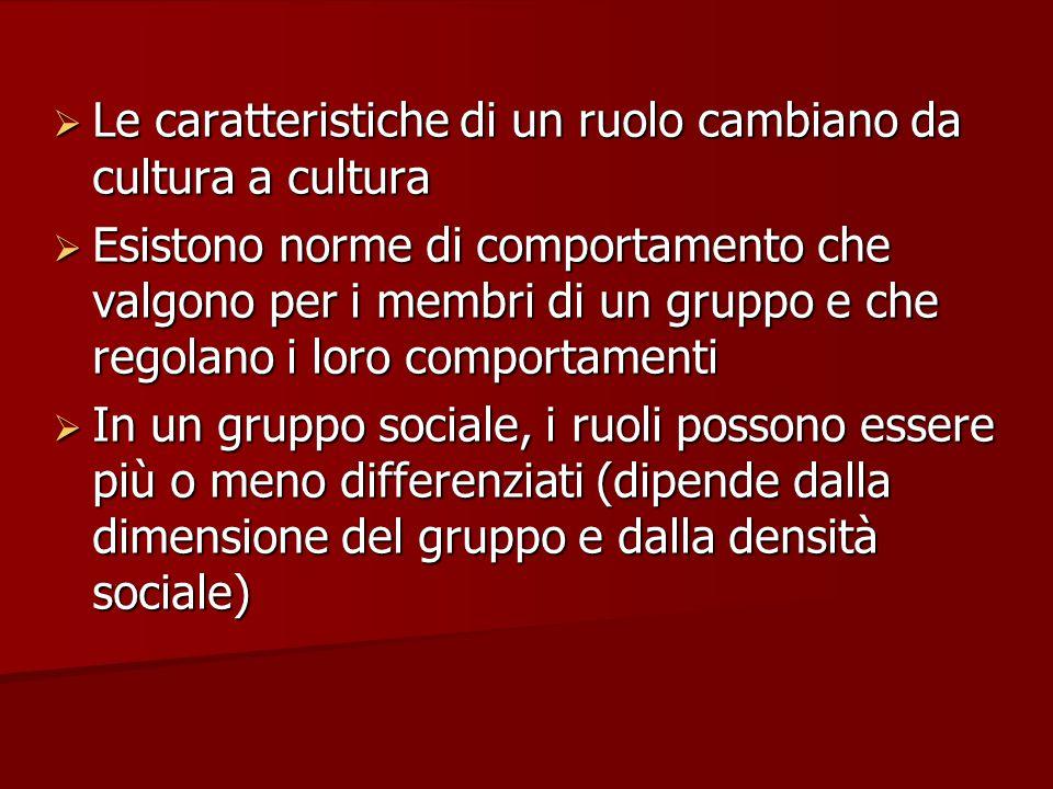  Le caratteristiche di un ruolo cambiano da cultura a cultura  Esistono norme di comportamento che valgono per i membri di un gruppo e che regolano