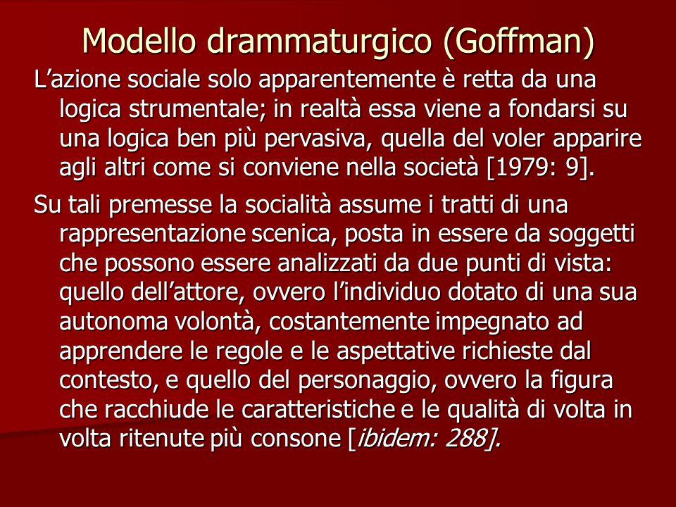 Modello drammaturgico (Goffman) L'azione sociale solo apparentemente è retta da una logica strumentale; in realtà essa viene a fondarsi su una logica