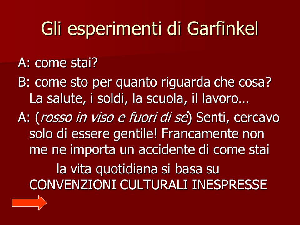 Gli esperimenti di Garfinkel A: come stai? B: come sto per quanto riguarda che cosa? La salute, i soldi, la scuola, il lavoro… A: (rosso in viso e fuo