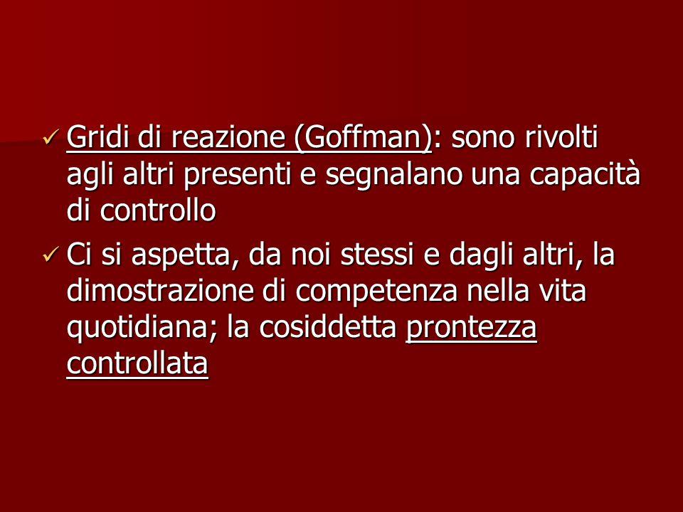 Gridi di reazione (Goffman): sono rivolti agli altri presenti e segnalano una capacità di controllo Gridi di reazione (Goffman): sono rivolti agli alt