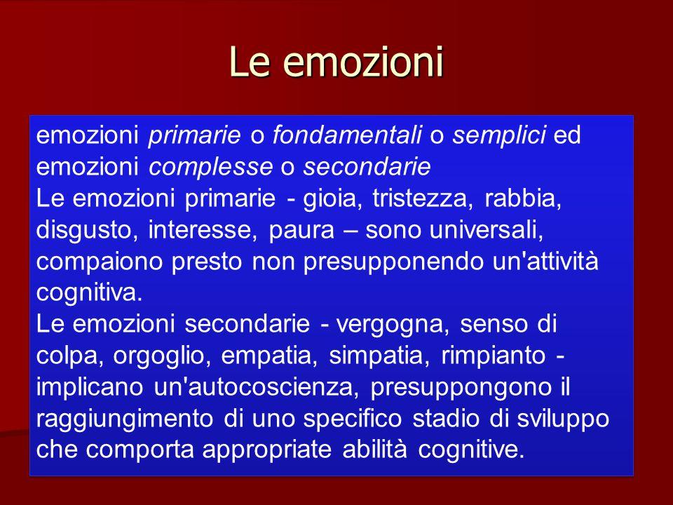 Le emozioni emozioni primarie o fondamentali o semplici ed emozioni complesse o secondarie Le emozioni primarie - gioia, tristezza, rabbia, disgusto,