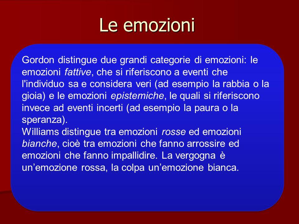 Le emozioni Gordon distingue due grandi categorie di emozioni: le emozioni fattive, che si riferiscono a eventi che l'individuo sa e considera veri (a