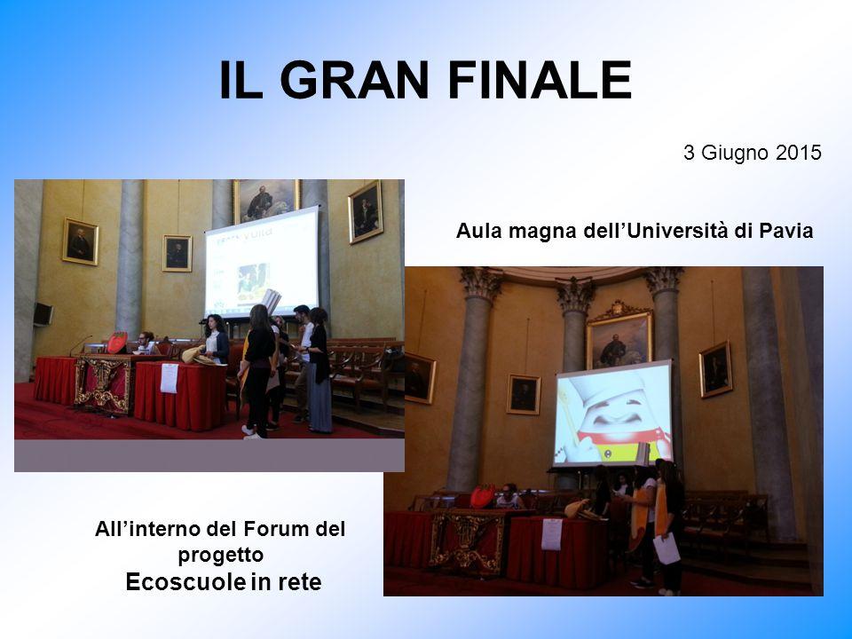 IL GRAN FINALE 3 Giugno 2015 Aula magna dell'Università di Pavia All'interno del Forum del progetto Ecoscuole in rete