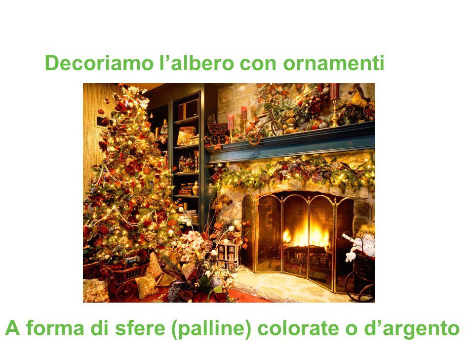A forma di sfere (palline) colorate o d'argento Decoriamo l'albero con ornamenti