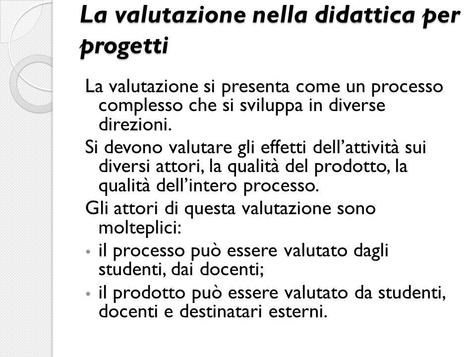 La valutazione nella didattica per progetti La valutazione si presenta come un processo complesso che si sviluppa in diverse direzioni. Si devono valu
