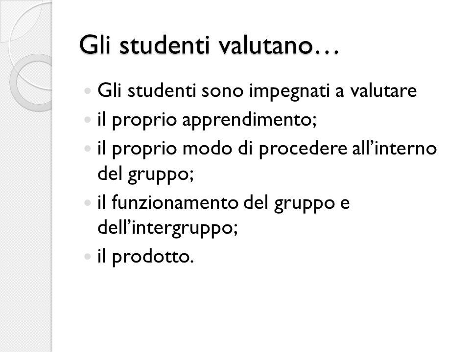 Gli studenti valutano… Gli studenti sono impegnati a valutare il proprio apprendimento; il proprio modo di procedere all'interno del gruppo; il funzionamento del gruppo e dell'intergruppo; il prodotto.