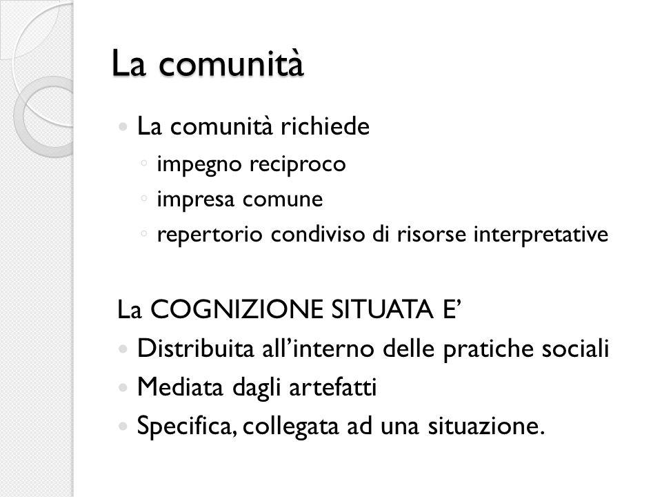 La comunità La comunità richiede ◦ impegno reciproco ◦ impresa comune ◦ repertorio condiviso di risorse interpretative La COGNIZIONE SITUATA E' Distribuita all'interno delle pratiche sociali Mediata dagli artefatti Specifica, collegata ad una situazione.