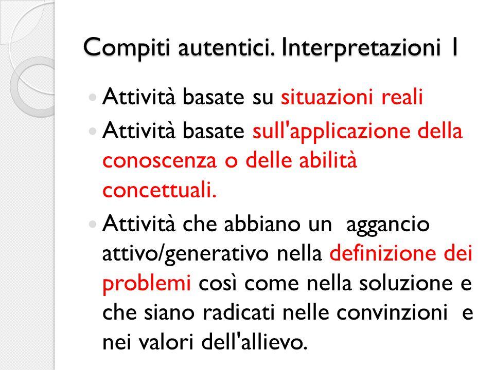 Compiti autentici. Interpretazioni 1 Attività basate su situazioni reali Attività basate sull'applicazione della conoscenza o delle abilità concettual