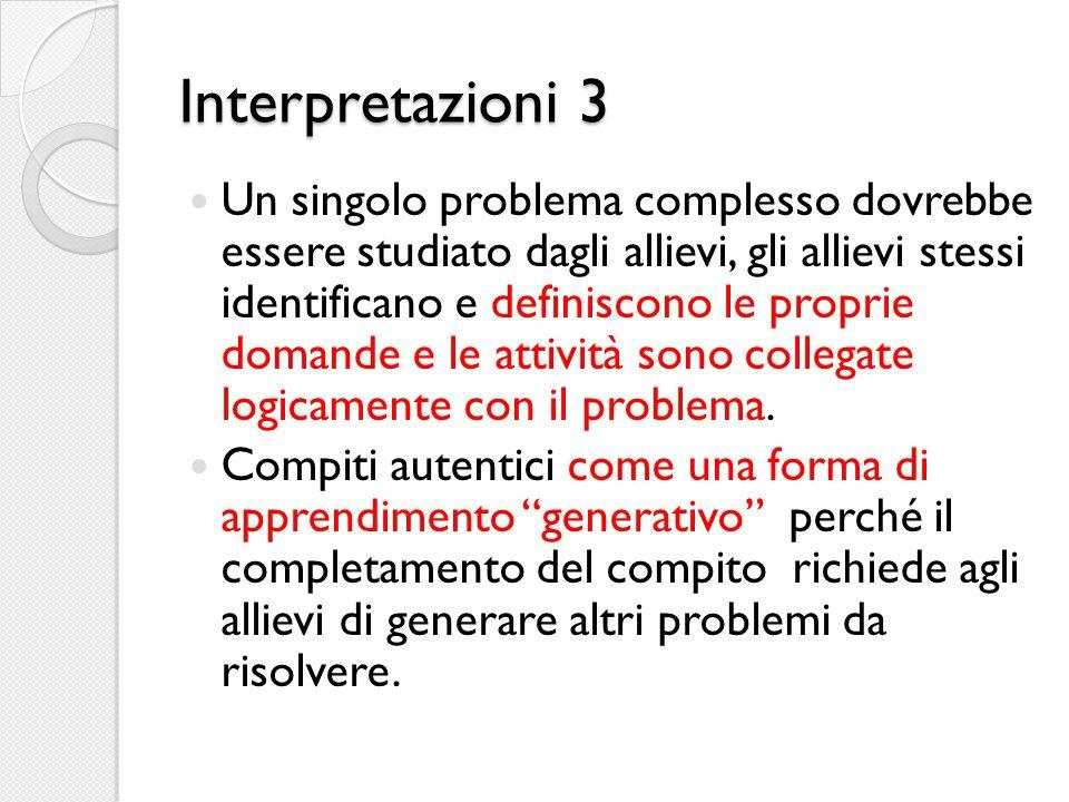 Interpretazioni 3 Un singolo problema complesso dovrebbe essere studiato dagli allievi, gli allievi stessi identificano e definiscono le proprie doman