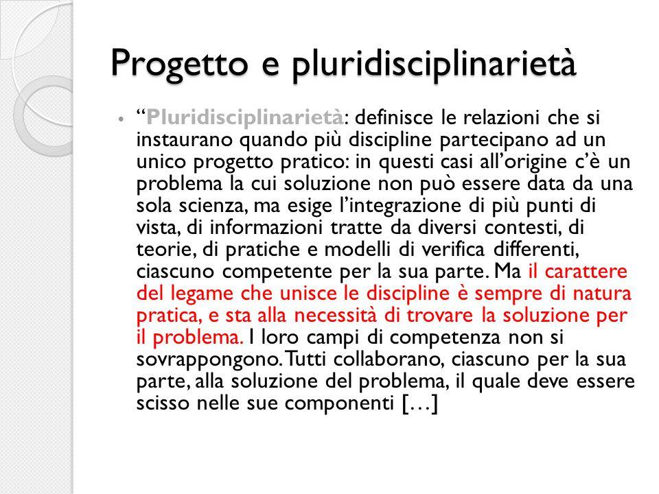 """Progetto e pluridisciplinarietà """"Pluridisciplinarietà: definisce le relazioni che si instaurano quando più discipline partecipano ad un unico progetto"""
