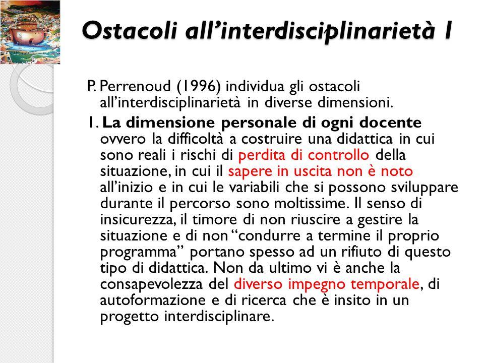 Ostacoli all'interdisciplinarietà 1 P. Perrenoud (1996) individua gli ostacoli all'interdisciplinarietà in diverse dimensioni. 1. La dimensione person