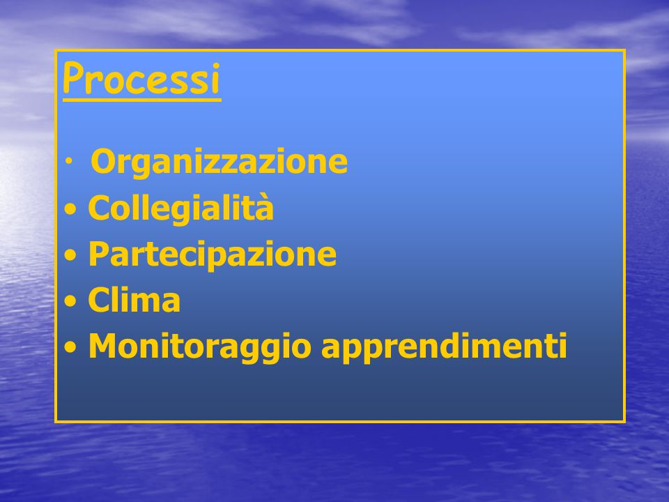 Indicatori di Input Risorse disponibili Tipologia corpo docenti Problematiche professionali Ambiente di apprendimento