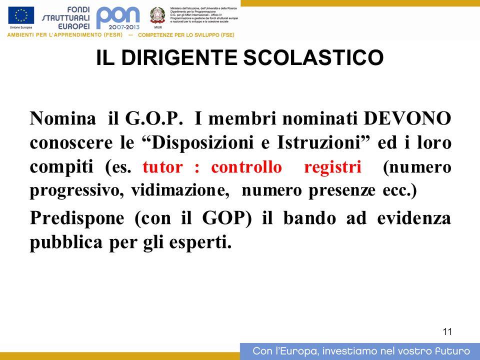 11 IL DIRIGENTE SCOLASTICO Nomina il G.O.P.