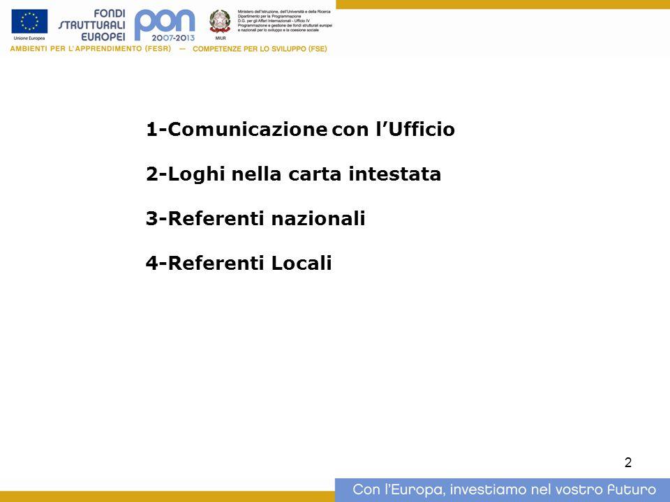 2 1-Comunicazione con l'Ufficio 2-Loghi nella carta intestata 3-Referenti nazionali 4-Referenti Locali