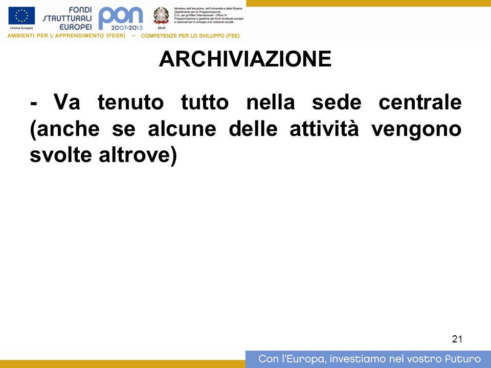 21 ARCHIVIAZIONE - Va tenuto tutto nella sede centrale (anche se alcune delle attività vengono svolte altrove)