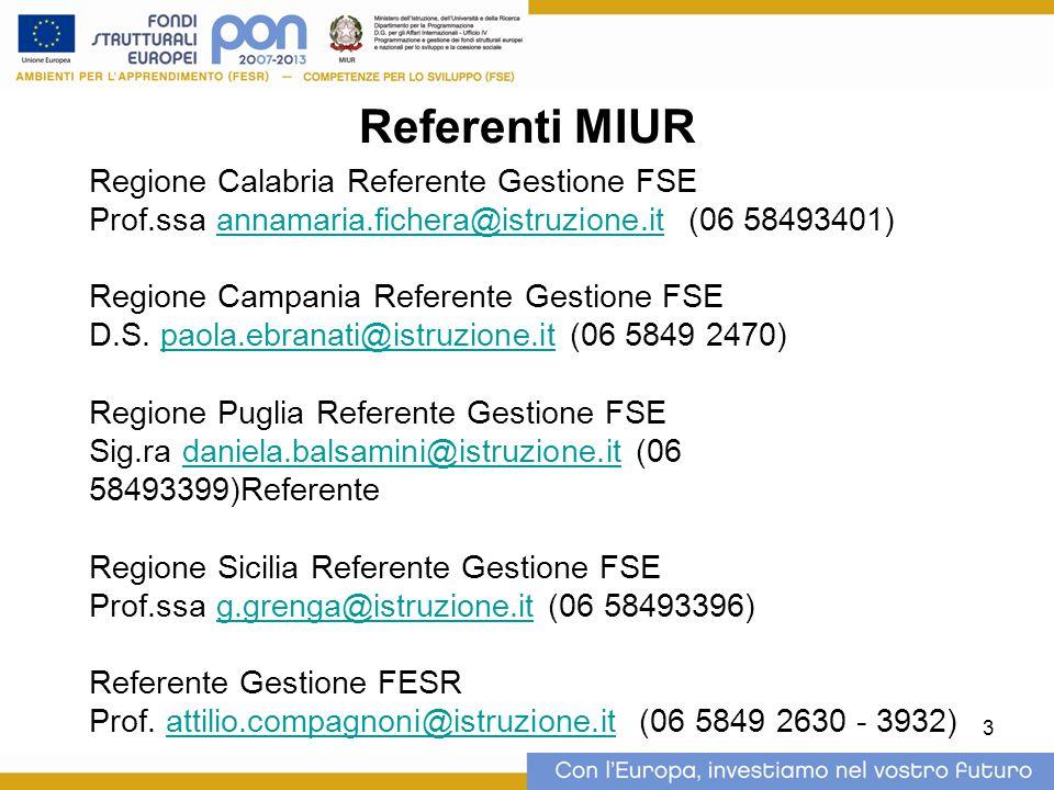 3 Referenti MIUR Regione Calabria Referente Gestione FSE Prof.ssa annamaria.fichera@istruzione.it (06 58493401)annamaria.fichera@istruzione.it Regione Campania Referente Gestione FSE D.S.