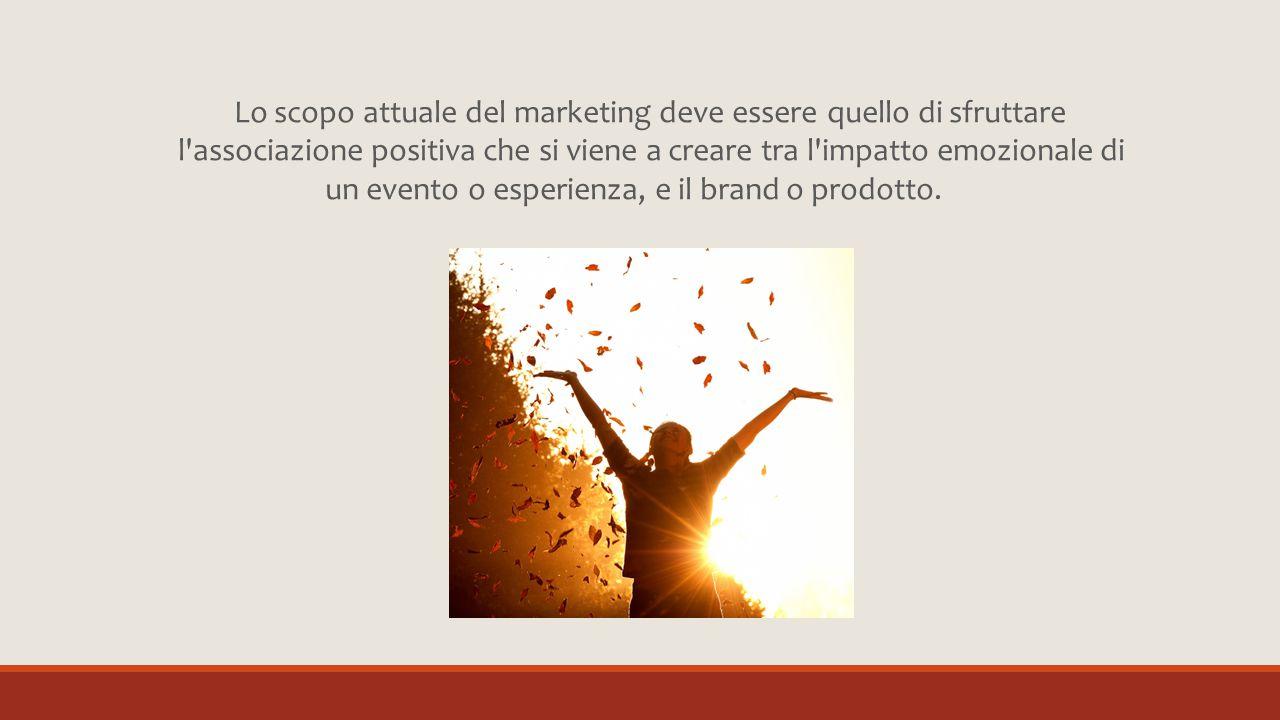 Lo scopo attuale del marketing deve essere quello di sfruttare l'associazione positiva che si viene a creare tra l'impatto emozionale di un evento o e