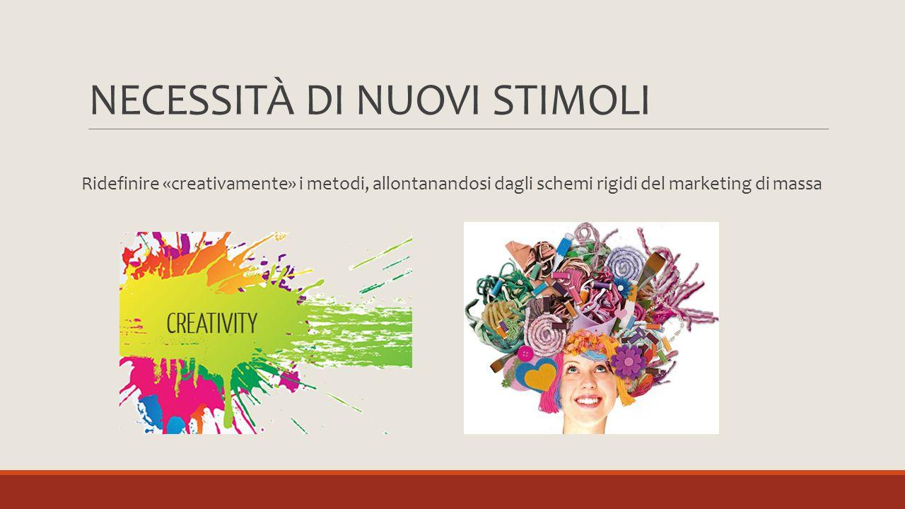 NECESSITÀ DI NUOVI STIMOLI Ridefinire «creativamente» i metodi, allontanandosi dagli schemi rigidi del marketing di massa