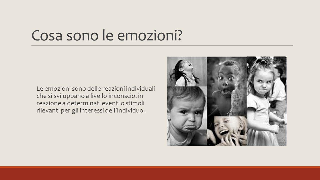 Cosa sono le emozioni? Le emozioni sono delle reazioni individuali che si sviluppano a livello inconscio, in reazione a determinati eventi o stimoli r