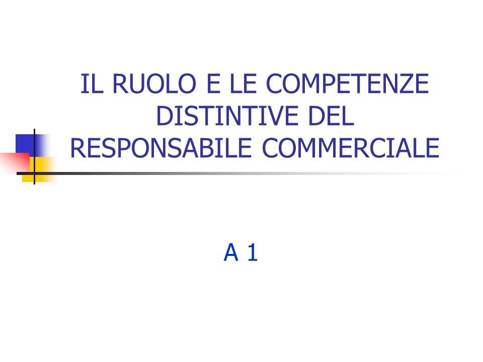 IL RUOLO E LE COMPETENZE DISTINTIVE DEL RESPONSABILE COMMERCIALE A 1