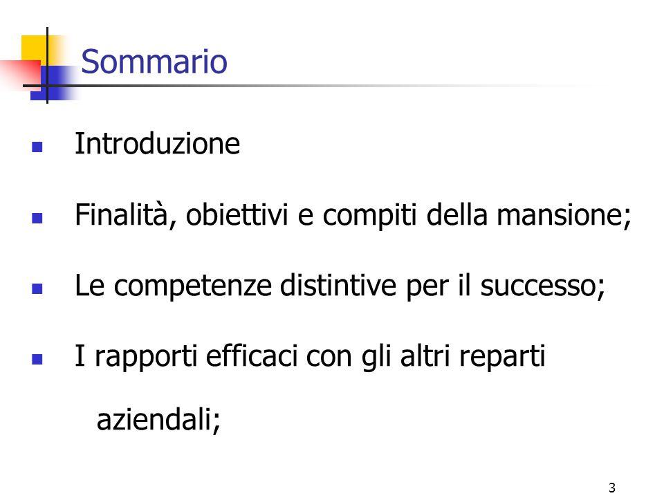 4 La natura e il ruolo del Responsabile Commerciale L'ENFASI E' SUL RESPONSABILE .