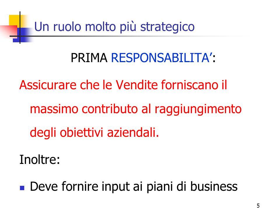 5 Un ruolo molto più strategico PRIMA RESPONSABILITA': Assicurare che le Vendite forniscano il massimo contributo al raggiungimento degli obiettivi az