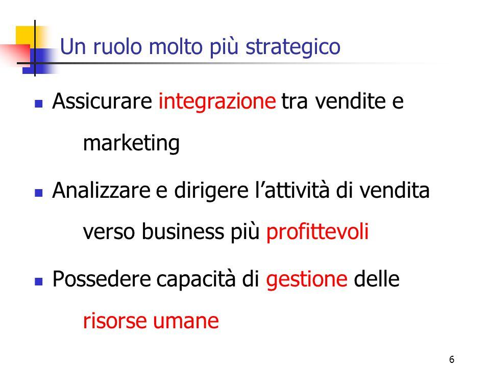6 Un ruolo molto più strategico Assicurare integrazione tra vendite e marketing Analizzare e dirigere l'attività di vendita verso business più profitt