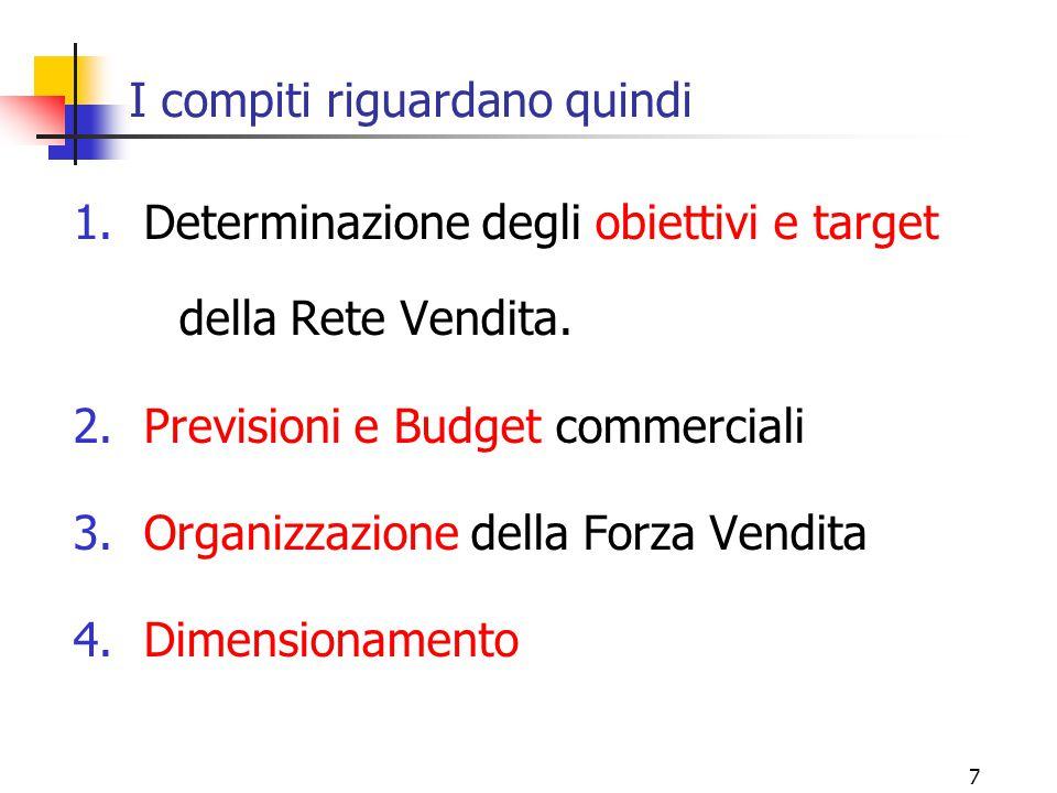 7 I compiti riguardano quindi 1.Determinazione degli obiettivi e target della Rete Vendita. 2.Previsioni e Budget commerciali 3.Organizzazione della F