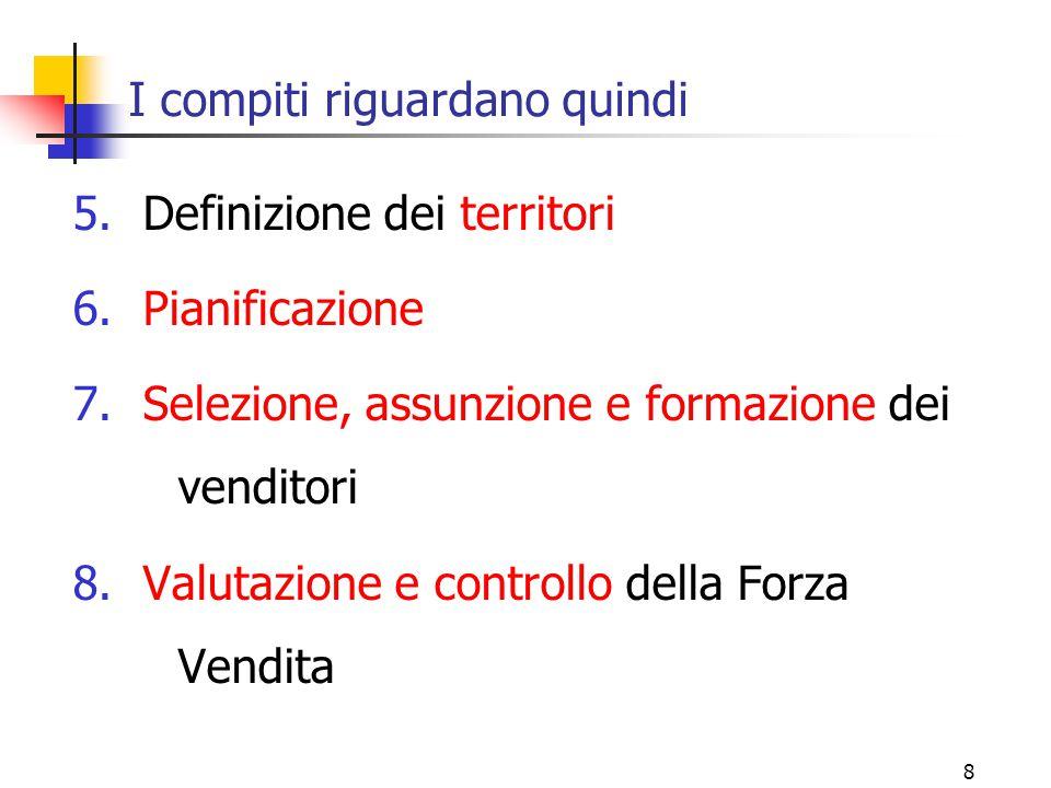 8 I compiti riguardano quindi 5.Definizione dei territori 6.Pianificazione 7.Selezione, assunzione e formazione dei venditori 8.Valutazione e controll