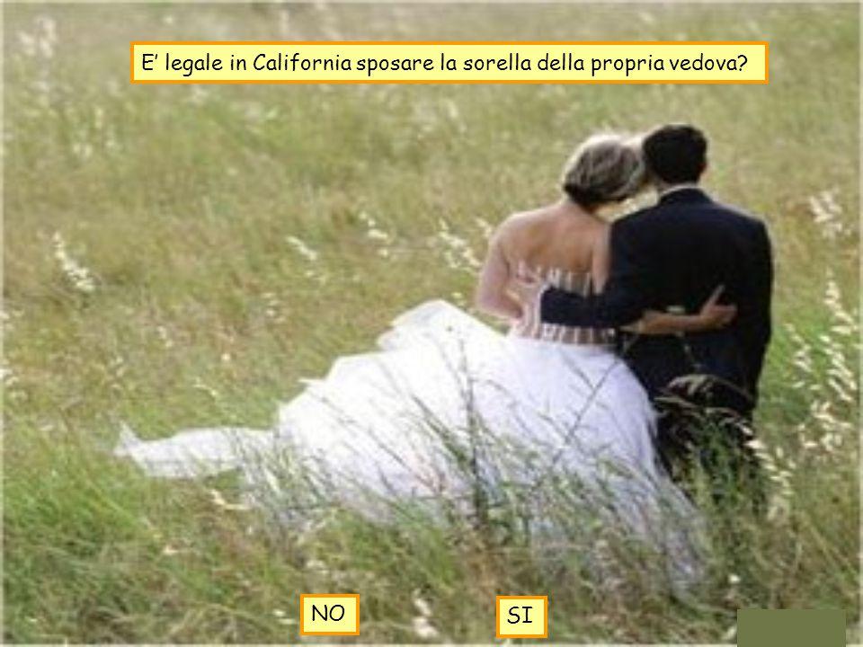E' legale in California sposare la sorella della propria vedova? NO SI