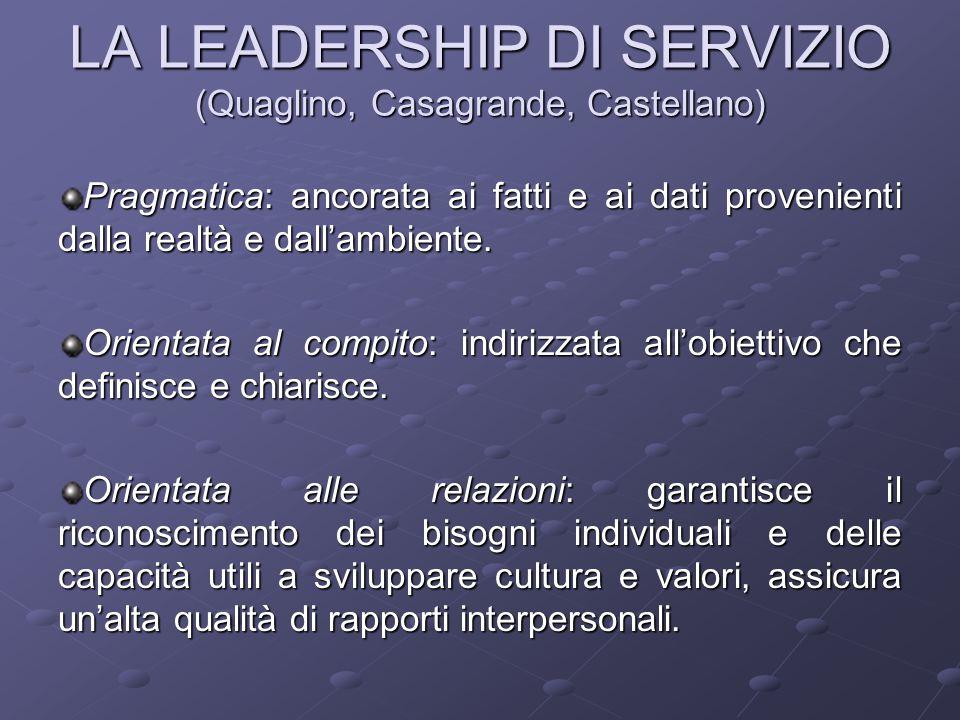LA LEADERSHIP DI SERVIZIO (Quaglino, Casagrande, Castellano) Pragmatica: ancorata ai fatti e ai dati provenienti dalla realtà e dall'ambiente.